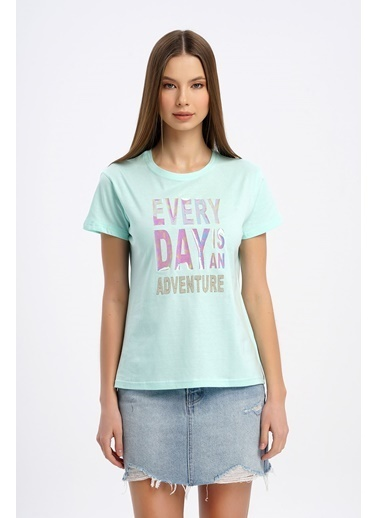 Nismia Hologram Baskılı Basic Tshirt Yeşil